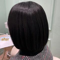 ボブ ヘッドスパ ツヤ髪 ナチュラル ヘアスタイルや髪型の写真・画像