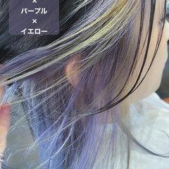 パープル ロング デザインカラー ストリート ヘアスタイルや髪型の写真・画像