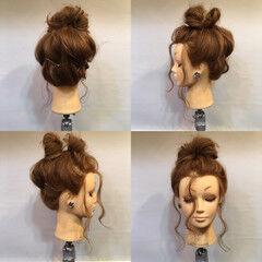 ヘアアレンジ お団子 セミロング ヘアピン ヘアスタイルや髪型の写真・画像