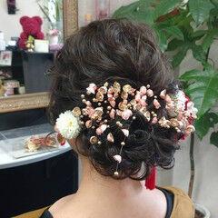 ナチュラル ヘアアレンジ 成人式 セミロング ヘアスタイルや髪型の写真・画像
