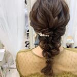 ヘアセット お呼ばれヘア 編みおろしヘア 結婚式ヘアアレンジ