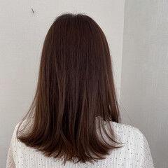 ミディアム 簡単ヘアアレンジ 秋ブラウン ショコラブラウン ヘアスタイルや髪型の写真・画像