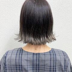 ブリーチ フェミニン グレージュ ボブ ヘアスタイルや髪型の写真・画像