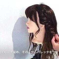 セミロング ヘアアレンジ 女子会 ナチュラル ヘアスタイルや髪型の写真・画像