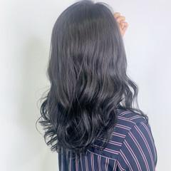 暗髪女子 ネイビーブルー ブルージュ ダークアッシュ ヘアスタイルや髪型の写真・画像