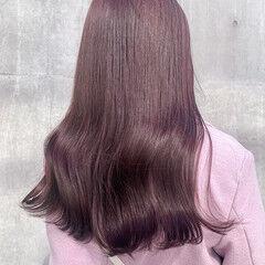 ピンクブラウン ハイトーンカラー ガーリー ロング ヘアスタイルや髪型の写真・画像