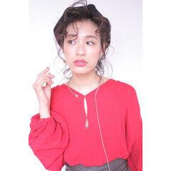 ショート ガーリー 簡単ヘアアレンジ 前髪あり ヘアスタイルや髪型の写真・画像
