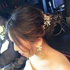 セミロング 結婚式ヘアアレンジ ふわふわヘアアレンジ 結婚式髪型 ヘアスタイルや髪型の写真・画像