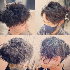 メンズショート ツーブロック ナチュラル メンズパーマ ヘアスタイルや髪型の写真・画像