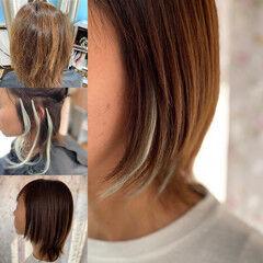 ショートボブ 大人ハイライト ショート インナーカラー ヘアスタイルや髪型の写真・画像