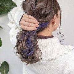 ピンクパープル パープル セミロング パープルカラー ヘアスタイルや髪型の写真・画像