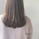 透明感 セミロング ミルクティーベージュ ツヤ髪