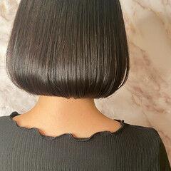 まとまるボブ フェミニン 外ハネボブ 黒髪 ヘアスタイルや髪型の写真・画像