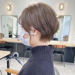 大人ショート 前髪なし ハンサムショート ショートボブ ヘアスタイルや髪型の写真・画像