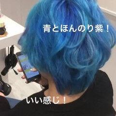 ブルー モード 個性的 カラートリートメント ヘアスタイルや髪型の写真・画像