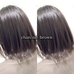 ヘアカラー ブリーチ無し ショコラブラウン グレージュ ヘアスタイルや髪型の写真・画像