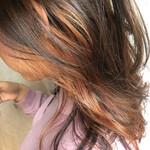 インナーカラー オレンジブラウン インナーカラーオレンジ イヤリングカラー