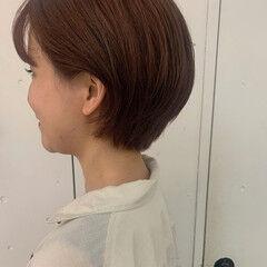 オレンジブラウン ショート ショートヘア 透け感ヘア ヘアスタイルや髪型の写真・画像