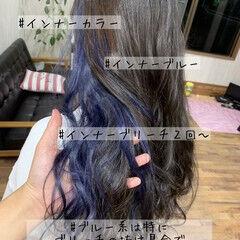 ストリート ブルーアッシュ ネイビーブルー ダブルカラー ヘアスタイルや髪型の写真・画像