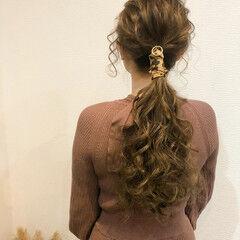 ローポニー ローポニーテール ヘアセット 結婚式 ヘアスタイルや髪型の写真・画像