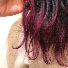 ロング 外国人風 グラデーションカラー ベリーピンク ヘアスタイルや髪型の写真・画像