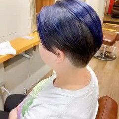 ネイビーアッシュ ネイビーカラー ネイビー ショート ヘアスタイルや髪型の写真・画像