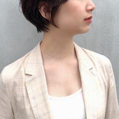 大人ショート ショートボブ ショート 黒髪ショート ヘアスタイルや髪型の写真・画像