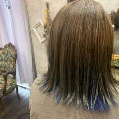外ハネボブ アクセサリーカラー インナーカラー ストリート ヘアスタイルや髪型の写真・画像