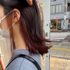 赤髪 赤茶 外ハネボブ ミディアム ヘアスタイルや髪型の写真・画像