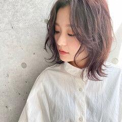 春スタイル ミディアム ウルフカット ナチュラル ヘアスタイルや髪型の写真・画像