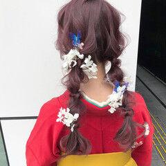 編みおろし ラベンダーピンク ハイトーン 卒業式 ヘアスタイルや髪型の写真・画像