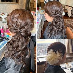 セミロング サイドアップ 出張 結婚式 ヘアスタイルや髪型の写真・画像