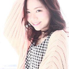 レイヤーカット ピンクアッシュ ガーリー ミディアム ヘアスタイルや髪型の写真・画像