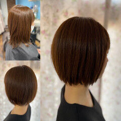 髪質改善 切りっぱなしボブ ミニボブ ショートヘア ヘアスタイルや髪型の写真・画像