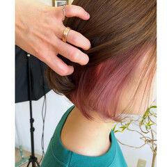 ピンク デザインカラー ボブ インナーカラー ヘアスタイルや髪型の写真・画像