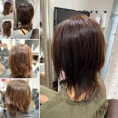フェミニン ミディアム ウルフパーマ ウルフパーマヘア ヘアスタイルや髪型の写真・画像