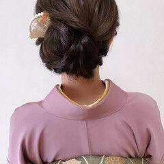 ミディアム エレガント 訪問着 和装ヘア ヘアスタイルや髪型の写真・画像