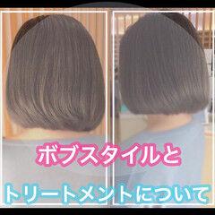 ミニボブ ショートボブ 髪質改善カラー 髪質改善 ヘアスタイルや髪型の写真・画像
