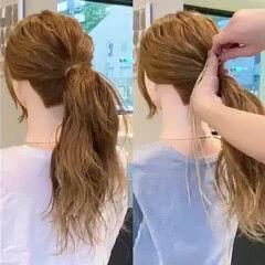簡単ヘアアレンジ ヘアセット 紐アレンジ ヘアアレンジ ヘアスタイルや髪型の写真・画像