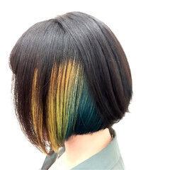 モード ボブ インナーカラー ビビッドカラー ヘアスタイルや髪型の写真・画像