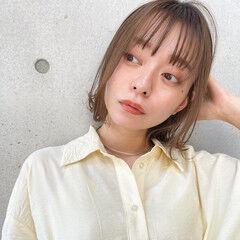 小顔ヘア 鎖骨ミディアム インナーカラー ミディアム ヘアスタイルや髪型の写真・画像