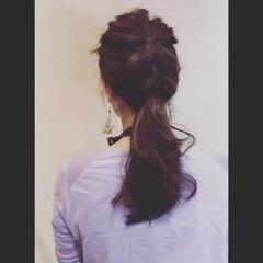 フェミニン ポニーテール ストレート 簡単ヘアアレンジ ヘアスタイルや髪型の写真・画像