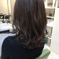 セミロング ハイライト マロン トリートメント ヘアスタイルや髪型の写真・画像