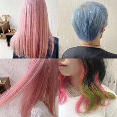 デート 透明感カラー ダブルカラー ミディアム ヘアスタイルや髪型の写真・画像