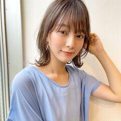 ショートバング 大人女子 大人かわいい ミディアム ヘアスタイルや髪型の写真・画像
