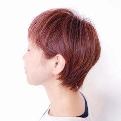 ショート ショートボブ ベリーピンク ナチュラル ヘアスタイルや髪型の写真・画像