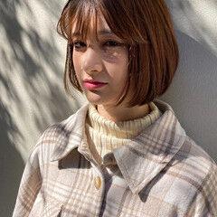 韓国ヘア 切りっぱなしボブ ボブ ミニボブ ヘアスタイルや髪型の写真・画像