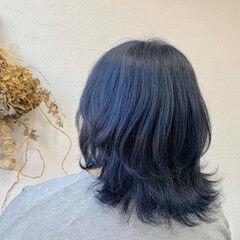ブルーアッシュ ストリート ボブ ブルーグラデーション ヘアスタイルや髪型の写真・画像
