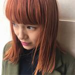 前髪あり ストリート ダブルカラー オレンジベージュ