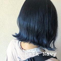 コリアンネイビー グラデーション ネイビー ストリート ヘアスタイルや髪型の写真・画像